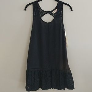 Altar'd State Black Sleeves Top Lace Hem Straps S